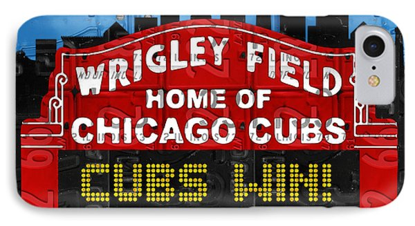 Cubs Win Wrigley Field Chicago Illinois Recycled Vintage License Plate Baseball Team Art IPhone 7 Case by Design Turnpike