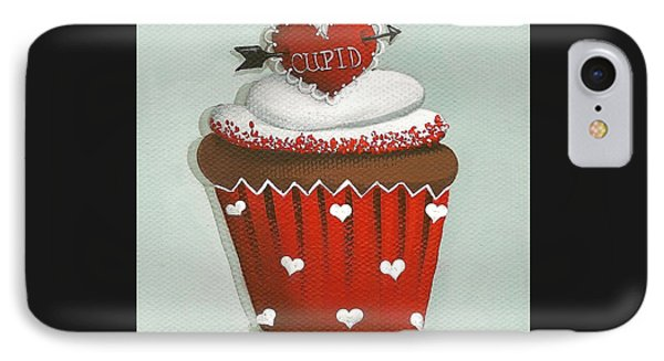 Cupid's Arrow Valentine Cupcake Phone Case by Catherine Holman