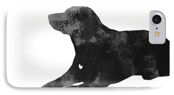 Custom Dog Silhouette Watercolor Painting IPhone Case by Joanna Szmerdt