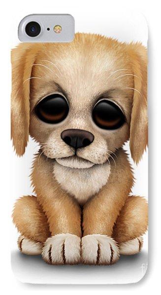 Cute Golden Retriever Puppy Dog IPhone Case by Jeff Bartels