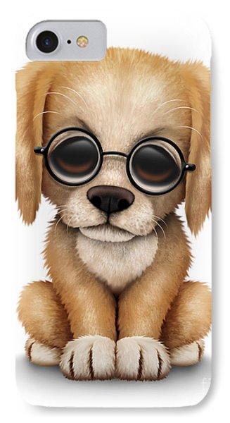 Cute Golden Retriever Puppy Dog Wearing Eye Glasses IPhone Case by Jeff Bartels