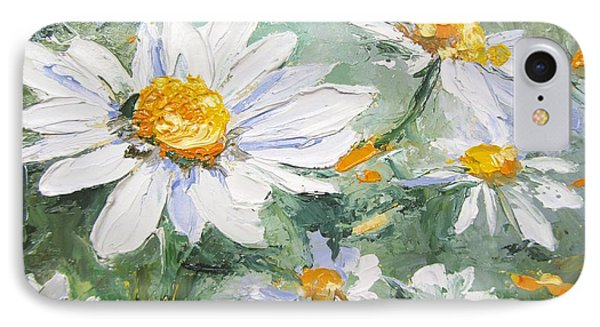 Daisy Delight Palette Knife Painting Phone Case by Chris Hobel