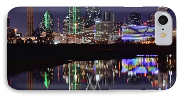 Dallas Reflecting At Night IPhone 7 Case by Frozen in Time Fine Art Photography