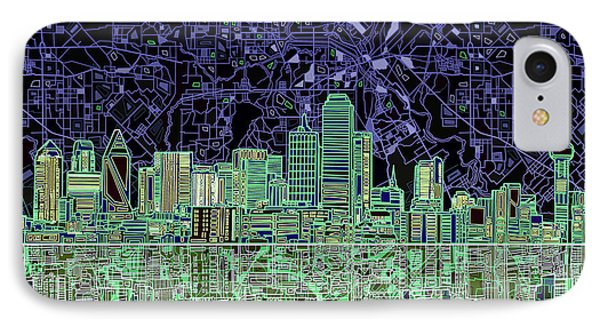 Dallas Skyline Abstract 4 IPhone 7 Case by Bekim Art