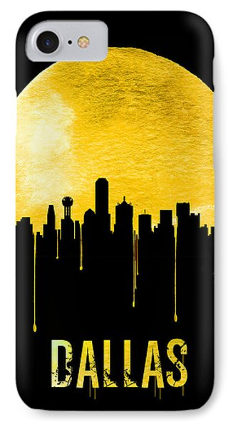 Dallas Skyline Yellow IPhone Case by Naxart Studio