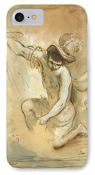 David Figure Drawing IPhone Case by Juan Bosco