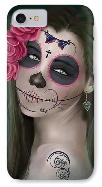 Day Of The Dead Bride Sugar Skull IPhone Case by Maggie Terlecki