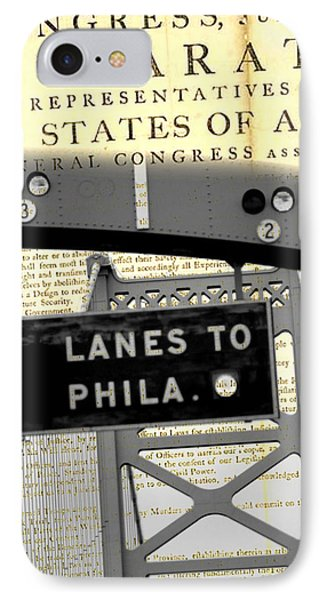 Declaration Of Independence Ben Franklin Bridge IPhone Case by Brandi Fitzgerald