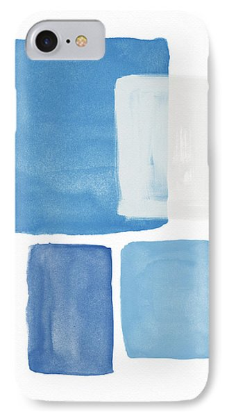 Deconstructed Blue Gingham 2- Art By Linda Woods IPhone Case by Linda Woods