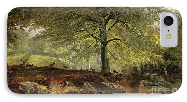 Deer In A Wood IPhone Case by Joseph Adam