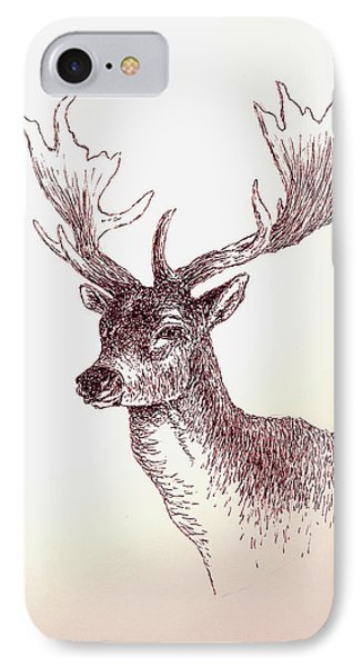 Deer In Ink IPhone Case by Michael Vigliotti