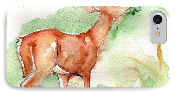 Deer Painting In Watercolor IPhone Case by Maria's Watercolor