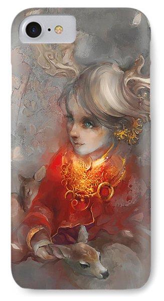 Deer Princess IPhone Case by Te Hu