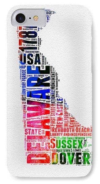 Delaware Watercolor Word Cloud  IPhone Case by Naxart Studio