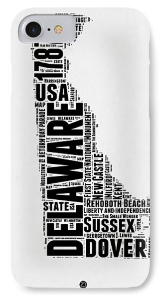 Delaware Word Cloud 2 IPhone Case by Naxart Studio