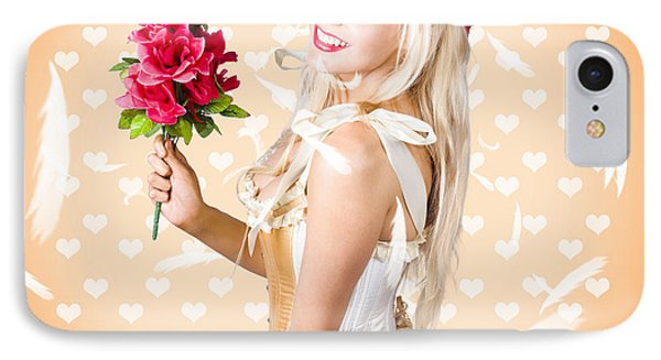 Delicate Young Woman Holding Flower Bunch IPhone Case by Jorgo Photography - Wall Art Gallery