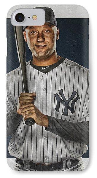 Derek Jeter New York Yankees Art IPhone 7 Case by Joe Hamilton