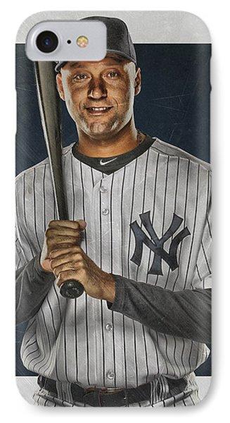 Derek Jeter New York Yankees Art IPhone Case by Joe Hamilton