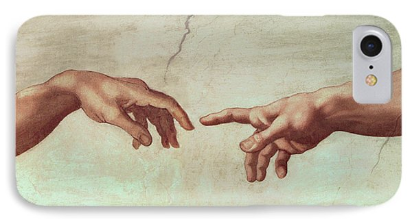 Detail From The Creation Of Adam IPhone Case by Michelangelo