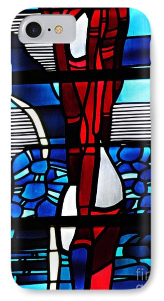 Detail Of A Stained Glass Window At St Boniface Church IPhone Case by Sarah Loft