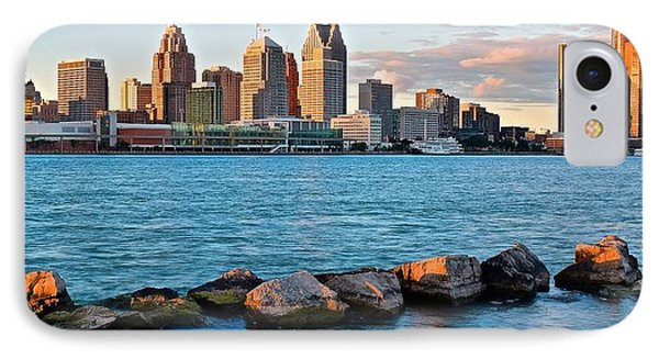 Detroit Panorama From Windsor IPhone Case by Frozen in Time Fine Art Photography