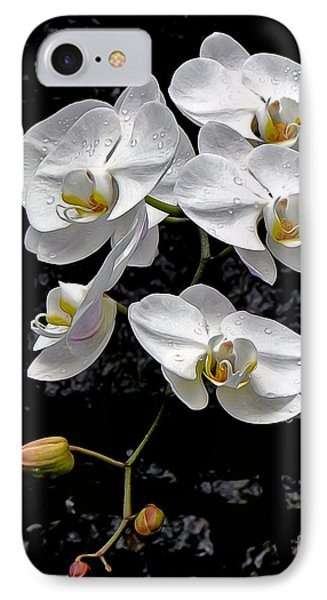 Dew-kissed Cascading Orchids Phone Case by Sue Melvin