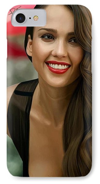 Digital Painting Of Jessica Alba IPhone Case by Frohlich Regian
