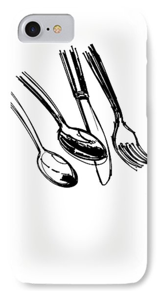 Diner Drawing Spoons, Knife, And Fork IPhone 7 Case by Chad Glass