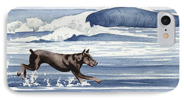 Doberman At The Beach  IPhone 7 Case by David Rogers