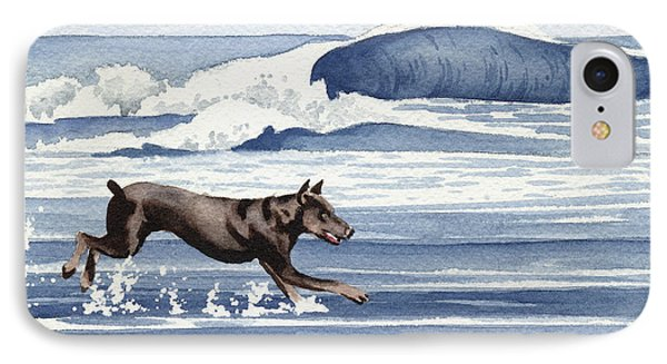 Doberman At The Beach  IPhone Case by David Rogers