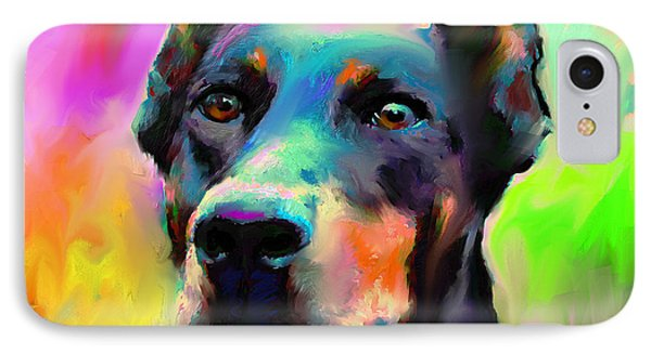 Doberman Pincher Dog Portrait IPhone 7 Case by Svetlana Novikova