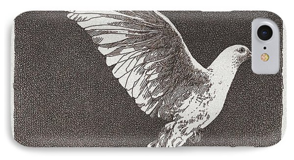 Dove Drawing IPhone Case by William Beauchamp