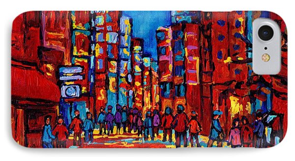 Downtown Skyline City After The Rain Montreal Skyscapers Rue Ste. Catherine Canadian Art IPhone Case by Carole Spandau