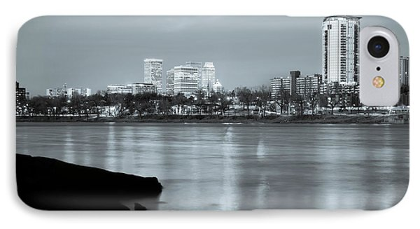 Downtown Tulsa Oklahoma - University Tower View - Black And White IPhone 7 Case by Gregory Ballos