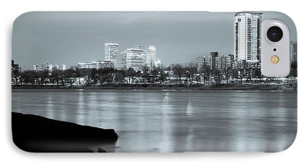 Downtown Tulsa Oklahoma - University Tower View - Black And White IPhone Case by Gregory Ballos