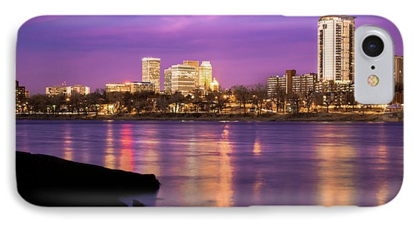 Downtown Tulsa Oklahoma - University Tower View - Purple Skies IPhone 7 Case by Gregory Ballos