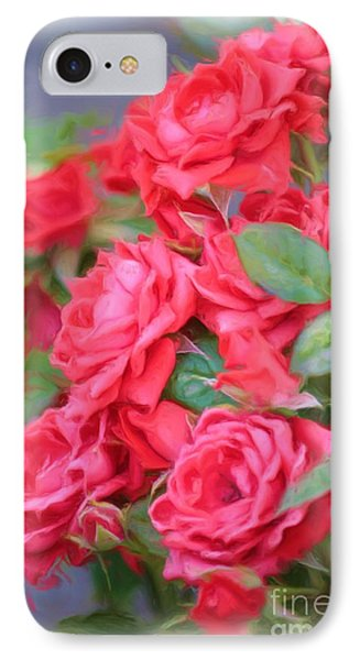 Dreamy Red Roses - Digital Art IPhone Case by Carol Groenen