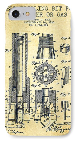 Drilling Bit For Oil Water Gas Patent From 1920 - Vintage IPhone Case by Aged Pixel