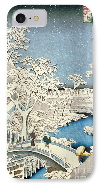 Drum Bridge And Setting Sun Hill At Meguro IPhone Case by Hiroshige