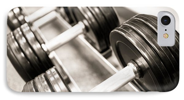 Dumbbell Weights On A Rack IPhone Case by Paul Velgos