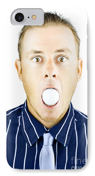 Dumbfounded Man Silenced By A Golf Ball IPhone Case by Jorgo Photography - Wall Art Gallery