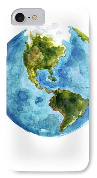 Earth America Watercolor Poster IPhone Case by Joanna Szmerdt