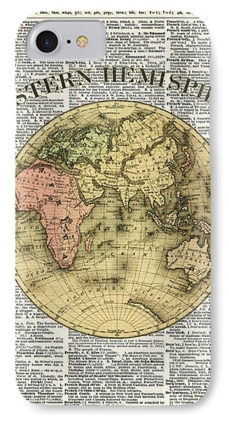 Eastern Hemisphere Earth Map Over Dictionary Page IPhone Case by Jacob Kuch