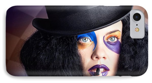 Eccentric Mad Fashion Hatter In Colourful Makeup IPhone Case by Jorgo Photography - Wall Art Gallery