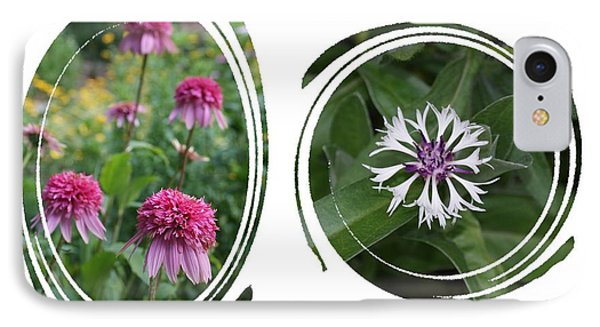 Echinacea Pink 'razzamatazz' And  Centaurea Montana Amethyst In Circle Swirls IPhone Case by Holly Eads