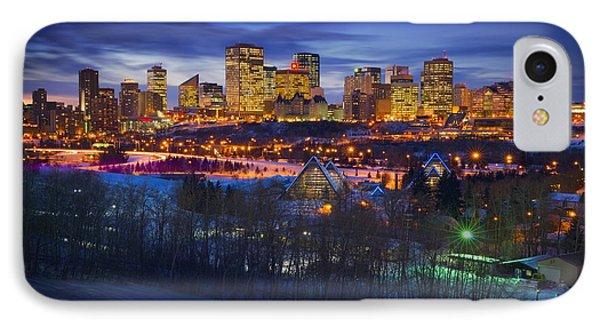 Edmonton Winter Skyline Phone Case by Corey Hochachka