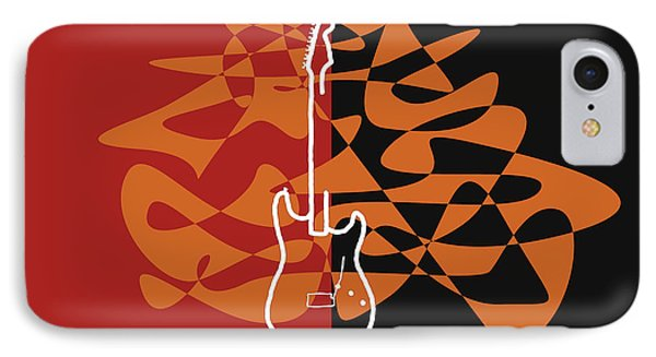 Electric Guitar In Orange Red IPhone Case by David Bridburg