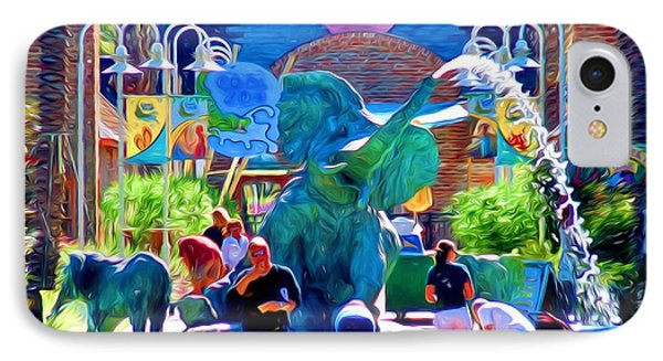 Elephant Fountain At Audubon Zoo New Orleans IPhone Case by D S Images