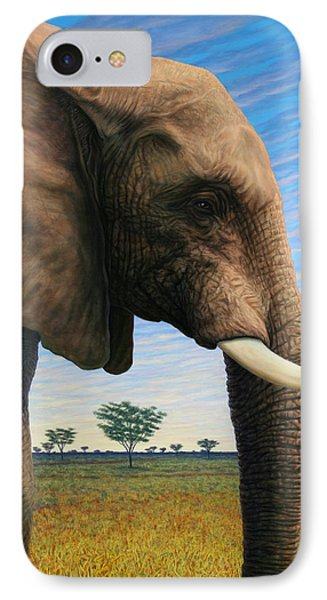 Elephant On Safari IPhone Case by James W Johnson