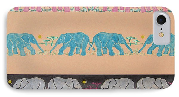 Elephant Pattern IPhone Case by John Keaton